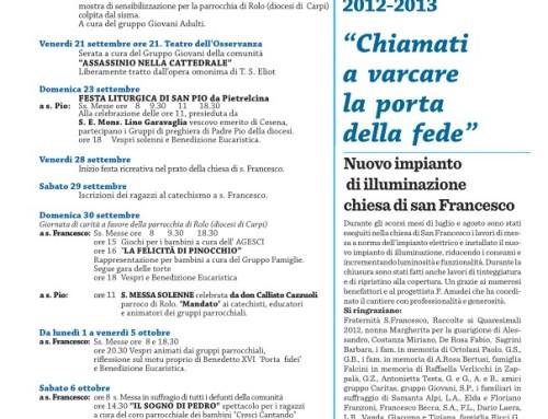 Manifesto Liturgico della XX Festa di san Francesco – Anno 2013
