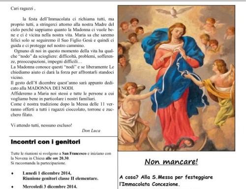 Gazzetta del Catechismo – Festa dell'Immacolata 2014