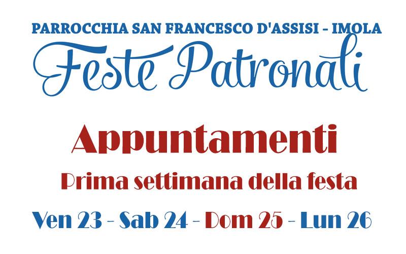 Appuntamenti Prima Settimana – Festa Patronale